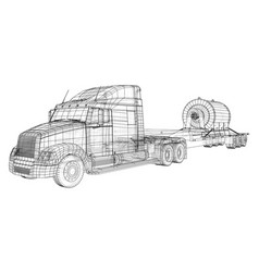 Low bed truck trailer cargo vehicle wire-frame vector