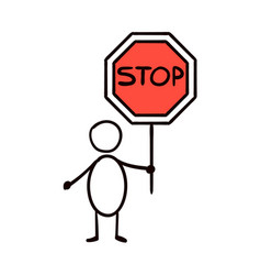 man holding a traffic sign stop vector image