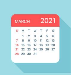 March 2021 calendar leaf vector