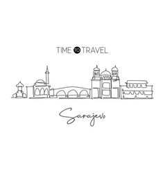 one continuous line drawing sarajevo city vector image