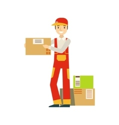 Paper Box Packages Piled Up In Warehouse With A vector