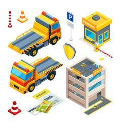 parking and evacuation cars isometric vector image