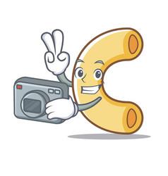 Photographer macaroni mascot cartoon style vector