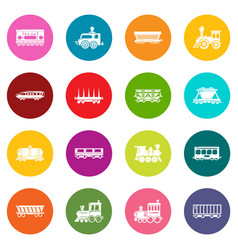 Railway carriage icons set colorful circles vector