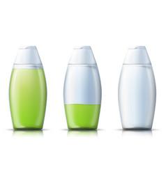 Realistic shampoo bottle with liquid gel vector