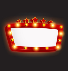 Retro light frame banner with star vector