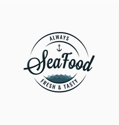 seafood round logo sea food lettering on white vector image