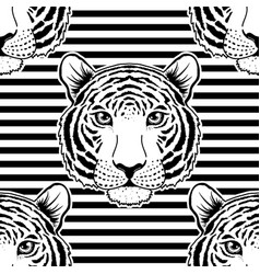 Seamless pattern with tiger muzzle vector