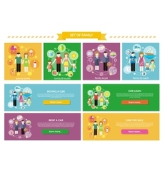 Set Family Concepts Health Travel Buy vector