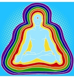 Silhouette of meditating human aura pop art vector