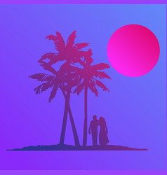 silhouette walking couple on beach in flat icon vector image