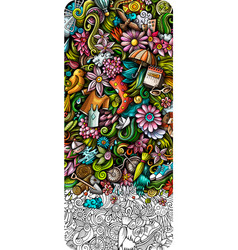 Spring hand drawn doodle banner cartoon detailed vector