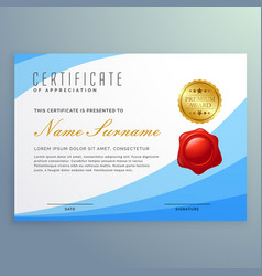 stylish certificate of appreciation with wavy vector image