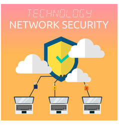 technology network security laptop security logo b vector image