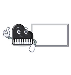 Thumbs up with board piano character cartoon style vector