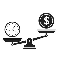 Time and money on scales icon time is money vector