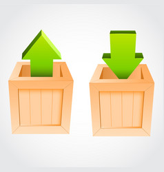 Upload download box vector