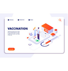vaccination isometric concept flu prevention vector image