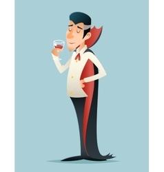 Vampire Gentleman Cartoon Halloween Savor Drink vector