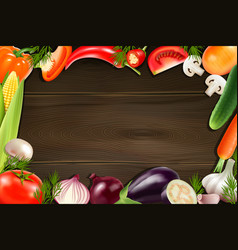 vegetables wooden background vector image