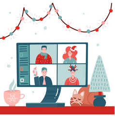 Video conference with people group in winter vector
