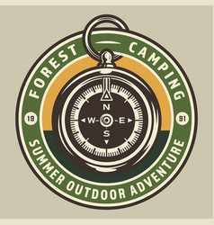 Vintage camping round colorful badge vector