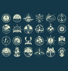 Vintage monochrome maritime emblems set vector