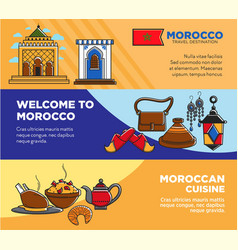 Welcome to morocco and moroccan cuisine posters vector