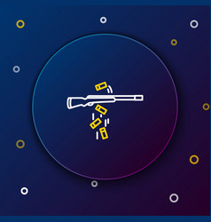 White and yellow line gun shooting icon on dark vector