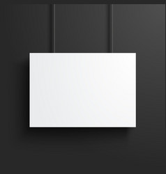 white blank poster frame mock up dark background vector image