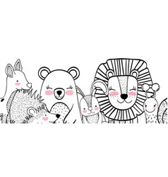 wild animals drawings vector image