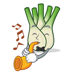 With trumpet fennel mascot cartoon style vector