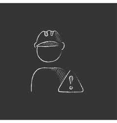 Worker with caution sign Drawn in chalk icon vector