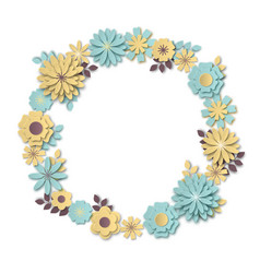 Wreath of delicate pastel blue and yellow flowers vector
