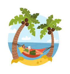 young bearded man on beautiful tropical beach vector image