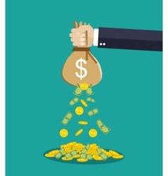 Cartoon businessman hand holding money bag vector image vector image