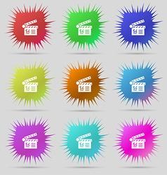 Cinema movie icon sign A set of nine original vector image