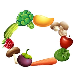 Frame design with fresh fruit and vegetables vector image vector image