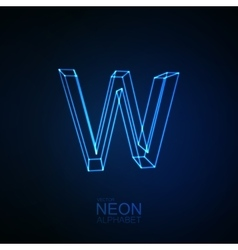 Neon 3D letter W vector image vector image