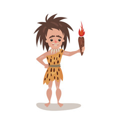prehistoric woman wearing in an animal skin vector image
