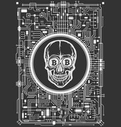 skull with bitcoin symbols vector image