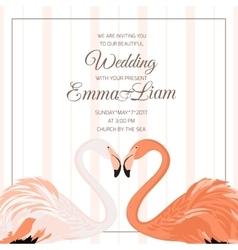 Wedding ceremony invitation flamingo couple heart vector image vector image