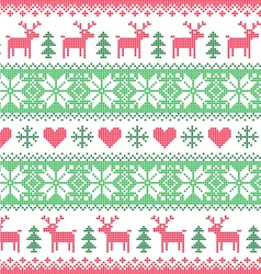 Winter christmas red and green seamless pixelated vector