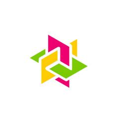 3d shape construction puzzle logo vector image
