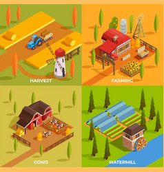 farm isometric 2x2 concept vector image vector image