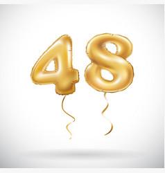 golden number 48 forty eight metallic balloon vector image vector image