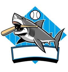 shark baseball mascot vector image