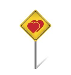 two hearts warning sign vector image vector image