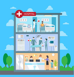 hospital with white cross vector image