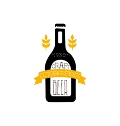 Beer logo design template with bottle silhouette vector